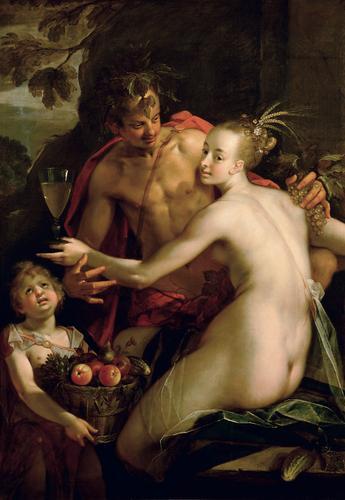 Hans von Aachen, Bacchus, Ceres and Amor, ca. 1600.