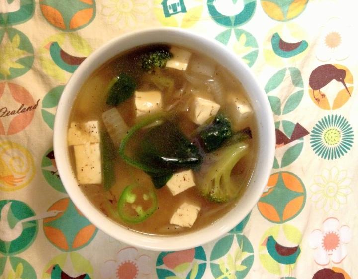 Vegetable Soup on New Zealand tea cloth