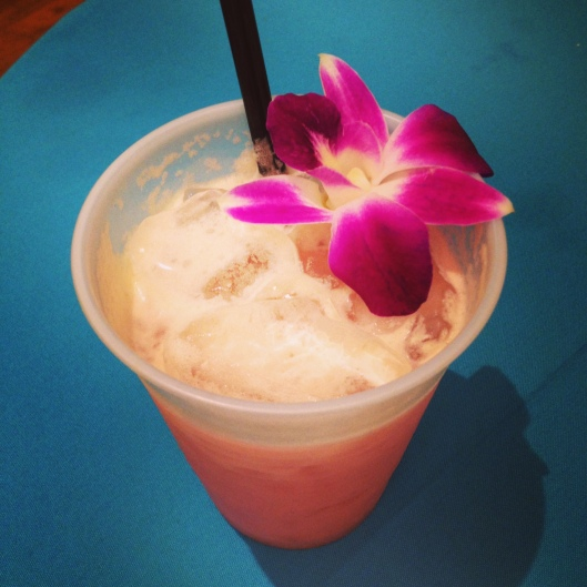 Getting the night started right with a rum tiki drink.