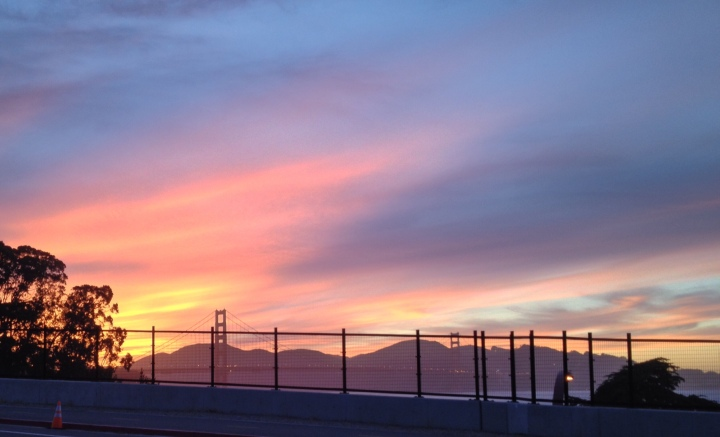 Sunset view of the Golden Gate Bridge from the Walt Disney Family Museum