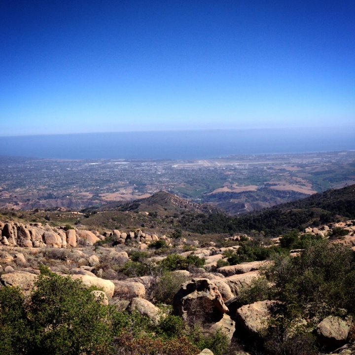 View of Santa Barbara and the Pacific Ocean from Santa Ynez Mountains