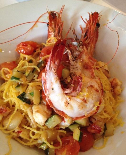 Capellini with prawns.