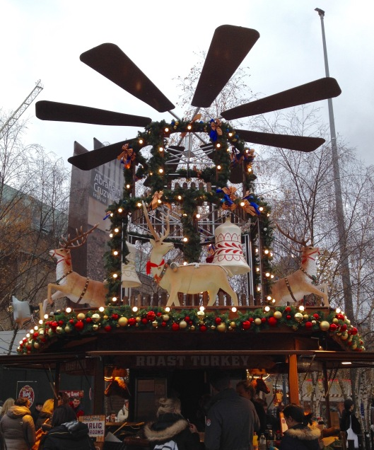 Giant reindeer windmill.