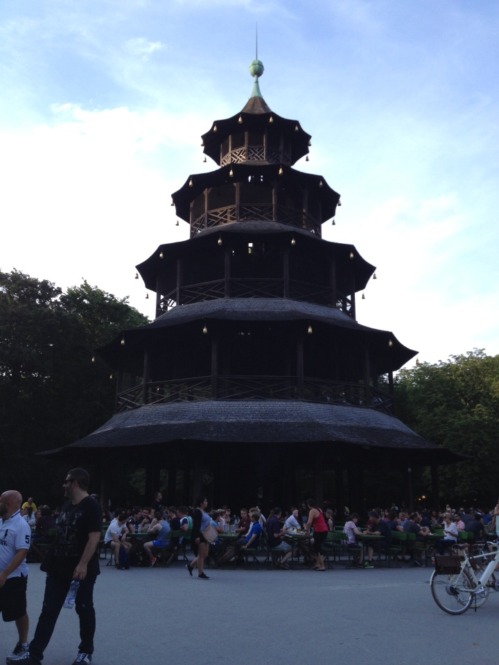 Chinese pagoda at the Chinesischer Turm, English Garden, Munich.