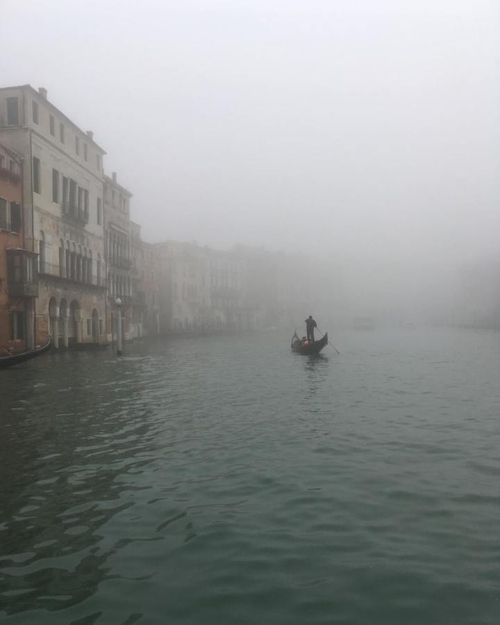 Fog and gondolier roll in.